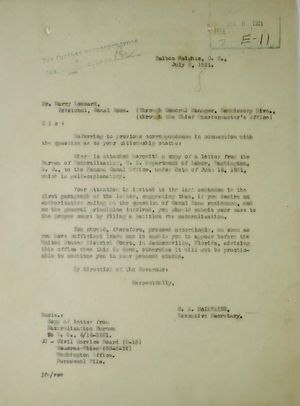 Memo from C. A. McIlvaine to Harry Leonard re: Past Correspondence Concerning Canal Zone Residence, August 27, 1921