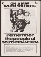 Anti-Apartheid Movement election flyer, re: On May 3, when you vote remember the people of Southern Africa, 1979