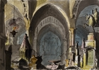 Set design by Pietro Bertoja (1828-1911) for Ernani, opera by Giuseppe Verdi (1813-1901), performed at La Fenice Theatre in Venice, 1844