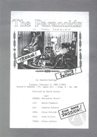 Handbill for The Paranoids by Jeannie Barroga, directed by David Kudler at the People's Theater on February 5, 1985.