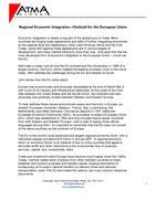 Regional Economic Integration -Outlook for the European Union