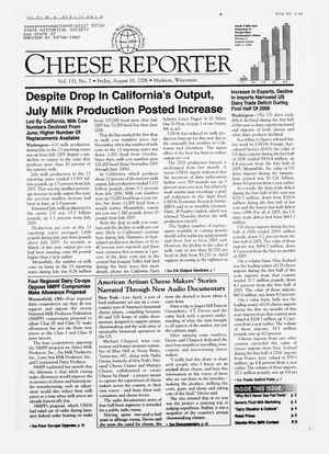 Cheese Reporter, Vol. 131, No. 7, Friday, August 18, 2006