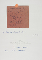 Christmas Card from Moses Lonsdale to Raymond Firth, December 20, 1994