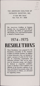 Wilcox Collection of Contemporary Political Movements, 1974-1975 Resolutions