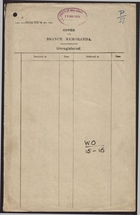 Blank Cover for Branch Memoranda and List Prepared by H. M. Consul at Chefoo re: Men Serving at Home with Knowledge of Chinese, April 1917
