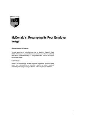 McDonald's: Revamping Its Poor Employer Image