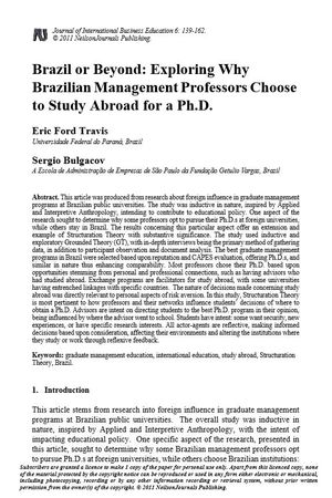 Brazil or Beyond: Exploring Why Brazilian Management Professors Choose to  Study Abroad for a Ph.D. | Alexander Street, a ProQuest Company