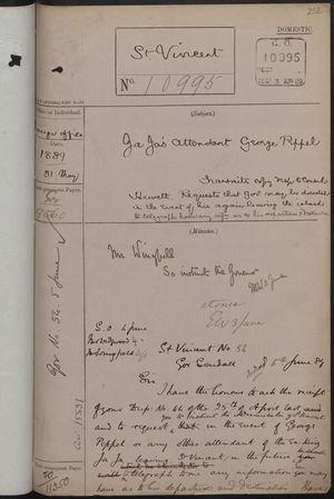 Correspondence re: King JaJa's Attendant, George Peppel, May 31, 1889