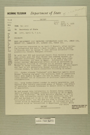 Telegram from Edward B. Lawson in Tel Aviv to Secretary of State, April 7, 1956