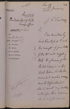 Draft of Letter from Colonial Office to Under Secretary of State, Foreign Office, re: Repatriation of Destitute Canal Workers, January 16, 1889