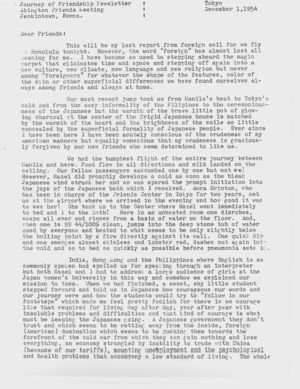 Letter from Dorothy Hutchinson to Friends, December 1, 1954