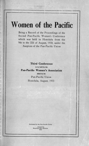 Women of the Pacific: Being a Record of the Proceedings of the Second Pan-Pacific Women's Conference