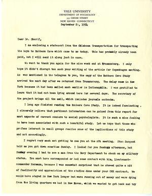 Letter from O.J. Harvey to Dr. Sherif, September 28, 1954