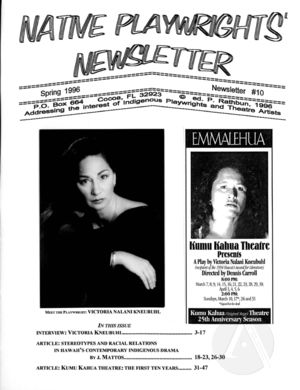 Native Playwrights' Newsletter, #10 Spring 1996