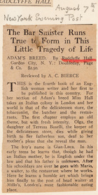 Adam's Breed by Radclyffe Hall: The Bar Smister Runs True to Form in This Little Tragedy of Life, New York Evening Post, August 7
