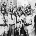 American fascists giving the fascist salute, 1933 (b/w photo)