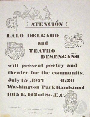 Flyer for Teatro Desengano del Pubelo and Lalo Delgado, Illinois, 1977.