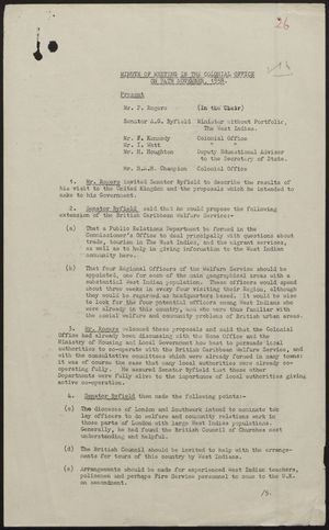 Colonial Office Minutes re: Meeting in Colonial Office, November 24, 1958
