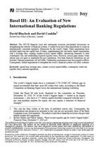 Basel III: An Evaluation of New International Banking Regulations
