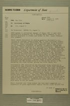 Telegram from James J. Wadsworth in New York to Secretary of State, Aug. 6, 1954