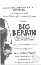 Playbill for Big Berrin, written and directed by Yulisa Amadu Maddy