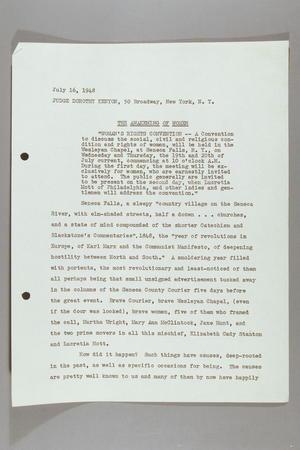 The Awakening of Women: Speech Delivered at Women's Rights Centennial, Seneca Falls, New York