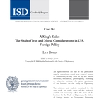 A King's Exile: The Shah of Iran and Moral Considerations in U.S. Foreign Policy