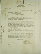 Cablegram from Captain A. B. Reed to Commander H. I. Cone re: Letter from Governor on Information Relative to Sandy A. Jones, April 23, 1917