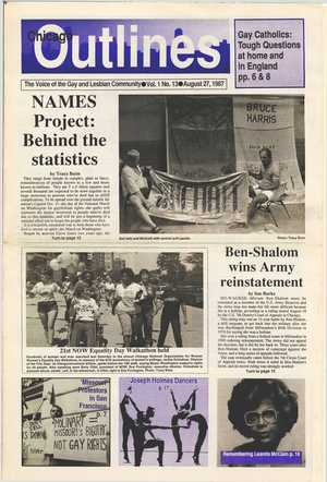 Chicago Outlines The Voice of the Gay and Lesbian Community Vol. 1 No. 13 August 27, 1987