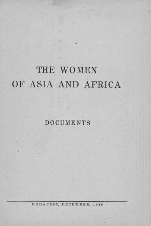 The Women of Asia and Africa: Documents: Report of the Commission