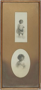 2 photographs of small girl in frame -late 19th century