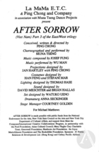 Program for After Sorrow by Ping Chong at La MaMa Annex Theater, January 31-February 15, 1997. Directed by Ping Chong.