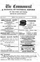 The Commonweal: A Journal of National Reform for God, Crown and Country, Vol. I, No. 3, 16 Jan. 1914