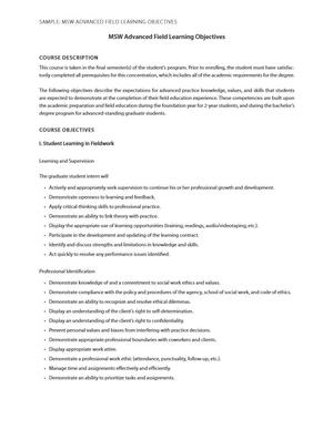 Sample: MSW Advanced Field Learning Objectives