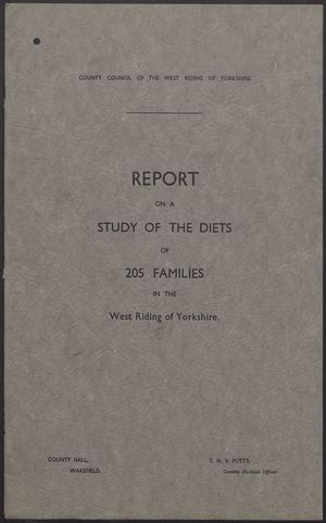 Report on a Study of the Diets of 205 Families in the West Riding of Yorkshire