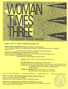 Handbill for Woman Times Three, featuring Kenny Was A Shortstop by Jeannie Barroga.