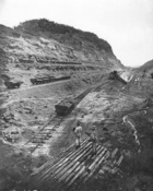 Construction of the Panama Canal, 1909 (b/w photo)
