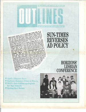 Outlines, The Voice of the Gay and Lesbian Community, Vol. 2 No. 11, April 1989
