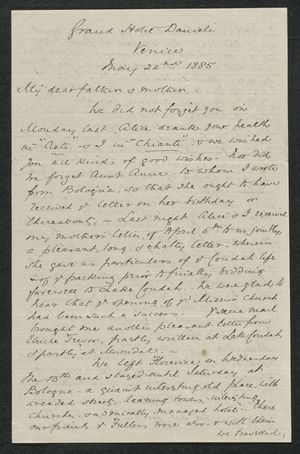 Letter from Samuel Winter Cook to My dear father and mother, May 22, 1885