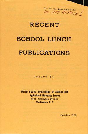 RECENT SCHOOL LUNCH PUBLICATIONS