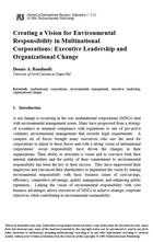 Creating a Vision for Environmental Responsibility in Multinational Corporations: Executive Leadershipand Organizational Change
