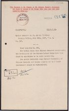 Deciphered telegram from Foreign Office to Mr. Beilby Alston re: Stop Recruiting Chinese [Hospital] Dressers for Chinese Labour Corps, July 20, 1917