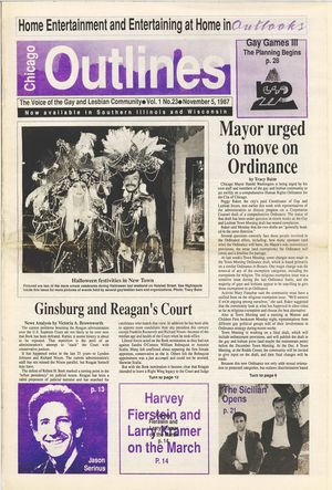 Chicago Outlines The Voice of the Gay and Lesbian Community Vol. 1 No.23 November 5, 1987