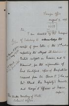 Letter from T. H. Sanderson to Under Secretary of State, Colonial Office, August 9, 1892