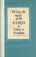 Where the Spirit of the Lord Is, There Is Freedom: Program Book for the Woman's Societies of Local Churches in the American Baptist Convention, 1951-1952