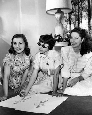 Actresses Laura Elliot and Virginia O'Brien with Paramount designer Edith Head (1907-1981) c. 1950