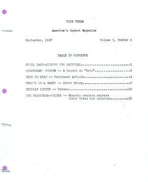Vice Versa, Volume I, Number 4, September 1947