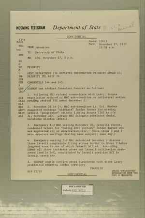 Telegram from Albert B. Franklin in Jerusalem to Secretary of State, November 27, 1957