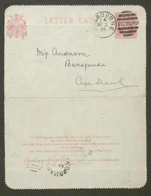 Letter from Alfred Howitt to Edith Thompson, April 2, 1894