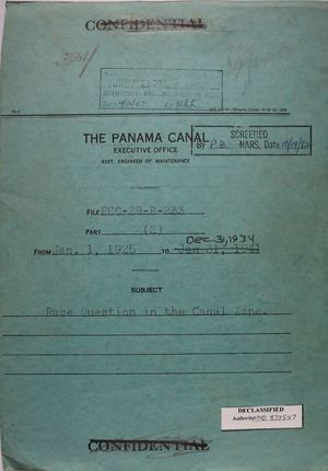Folder: Panama Canal Executive Office - Cover Sheet for File PCC-28-B-233 part 2: Race Question in the Canal Zone, January 1, 1925 to December 31, 1934